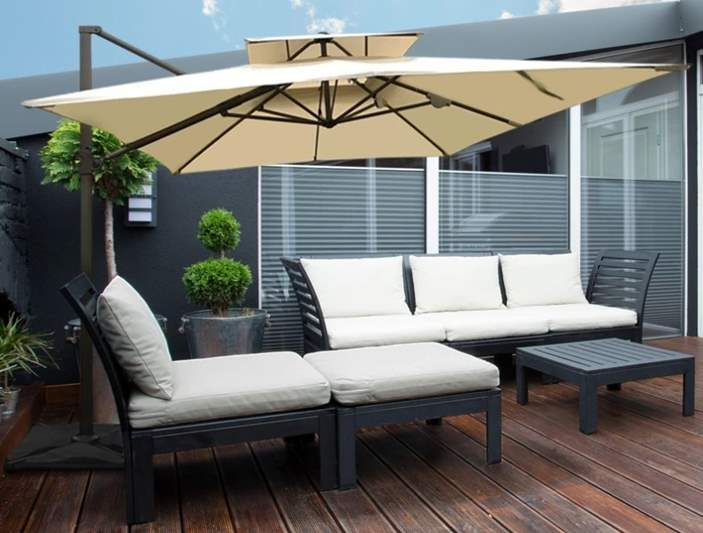 9 By 12 Feet Square Offset Cantilever Umbrella with Cross Base - Beige