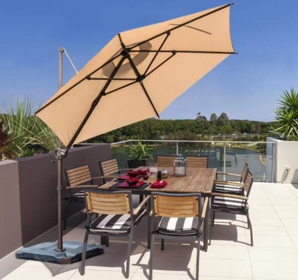 9 Feet Offset Cantilever Umbrella with Cross Base - Beige