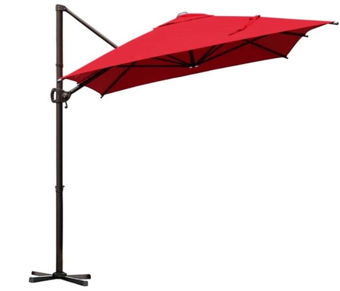 9 by 7 Feet Rectangular Offset Cantilever Umbrella - Red