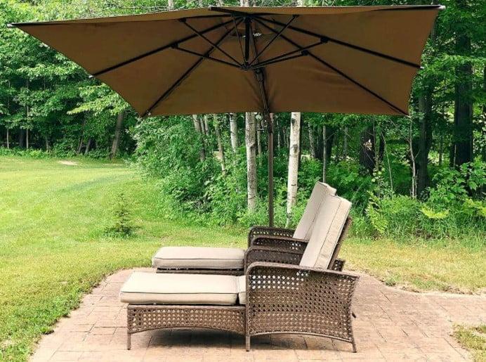 Abba Patio 10 x 10 Feet Rectangular Solar LED 360°Rotating Offset Cantilever Umbrella