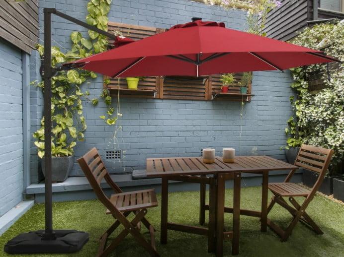 Abba Patio 11.5 Feet Solar LED 360°Rotating Offset Cantilever Umbrella
