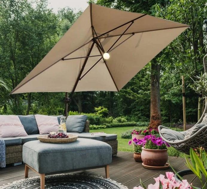 Abba Patio 12.5 By 8 Feet Rectangular Cantilever Umbrella with Solar Lights