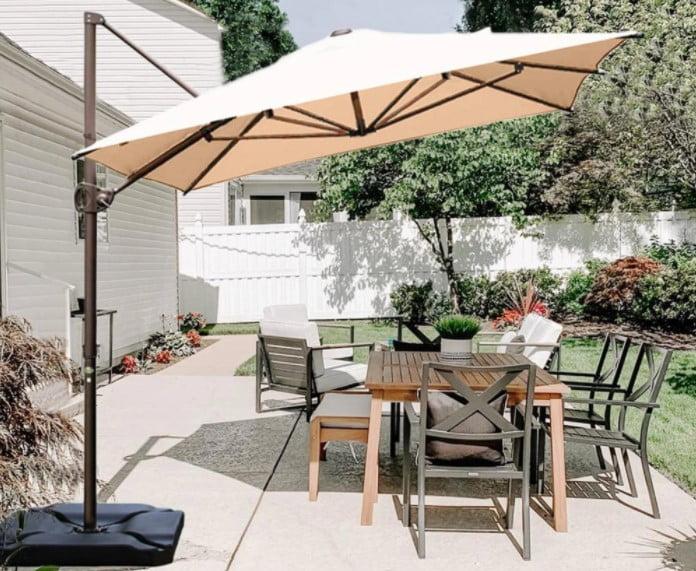 Abba Patio 12.5 By 8 Feet Rectangular Offset Cantilever Umbrella