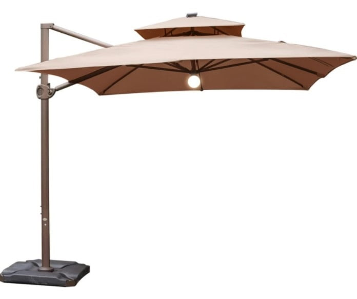 Abba Patio 9 x 12 Feet Rectangular Offset Cantilever Umbrella with Solar Lights