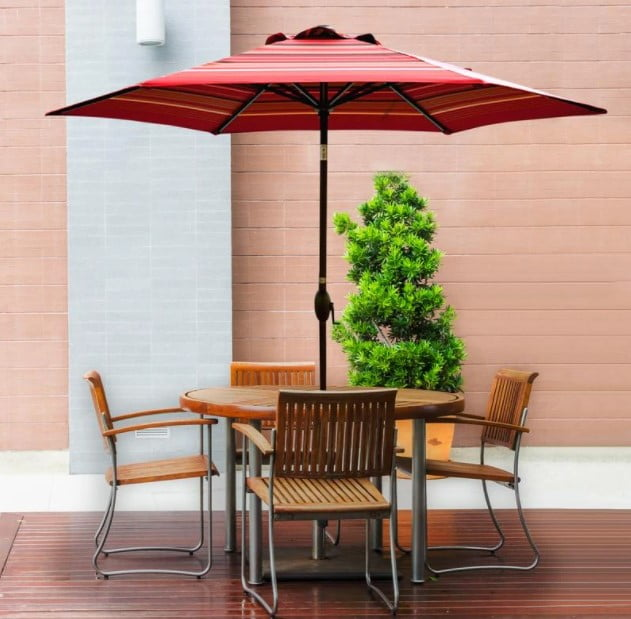 Abba Patio 9 Feet Market Umbrella with Auto Tilt and Crank, Striped (8 Ribs)