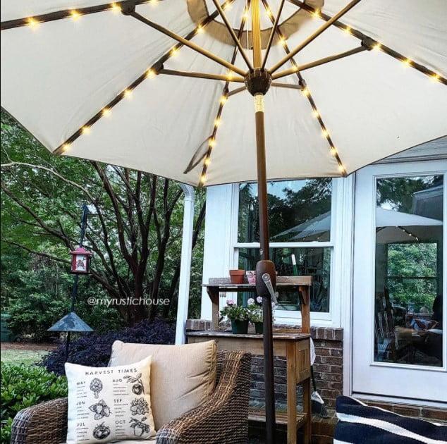 Abba Patio 9 Feet Patio Umbrella with Solar Powered 64 LED Lights