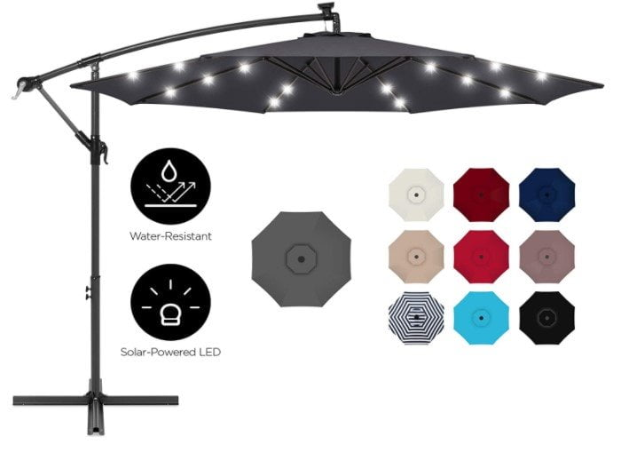 Best Choice Products 10ft Solar LED Offset Hanging Patio Umbrella