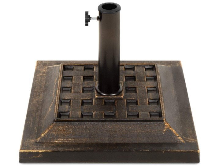 Best Choice Products 26lb Steel Square Patio Umbrella Base Stand, Basketweave Pattern