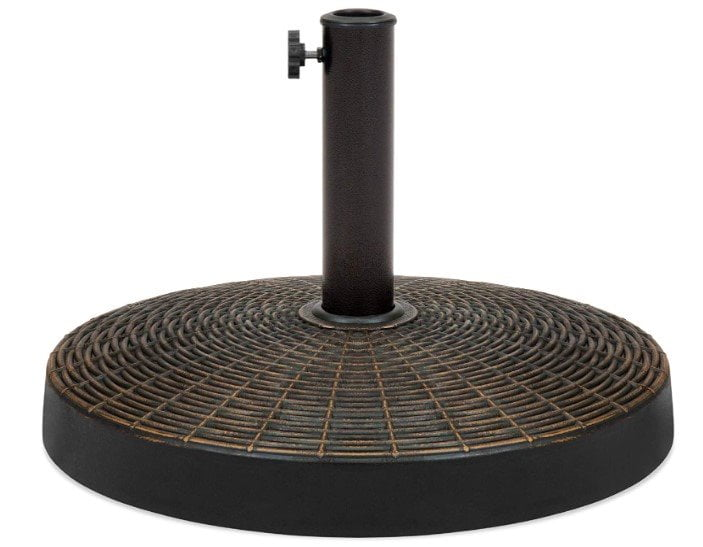 Best Choice Products 55lb Round Wicker Style Patio Umbrella Stand w Blackened Bronze