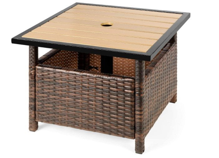 Best Choice Products Outdoor Wicker Patio Side Table Accent Furniture w Umbrella Hole