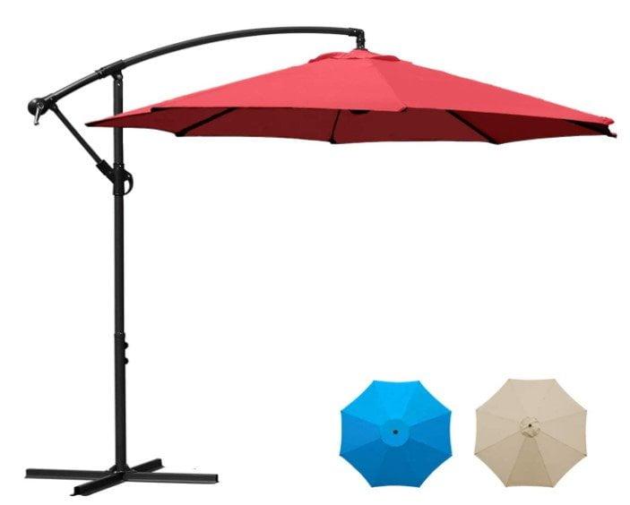 Sunnyglade 10Ft Outdoor Adjustable Offset Cantilever Hanging Patio Umbrella