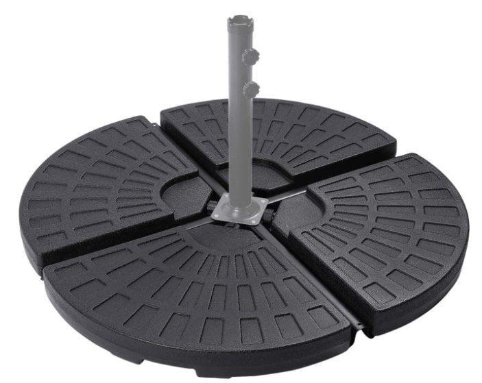 Sunnyglade 18.9″ 4Pcs 13L Fan Shaped Water Sand Filled Cantilever Offset Umbrella Base Black
