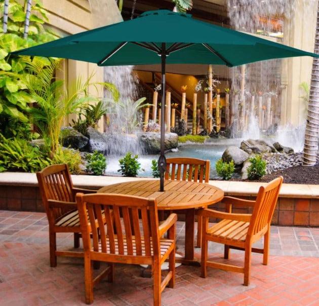 Abba Patio 9 Feet Market Umbrella with Push Button Tilt and Crank (6 Ribs)