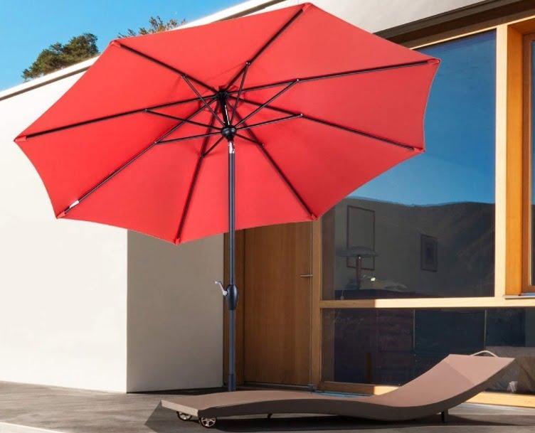 Tempera 9 ft Auto-Tilt Patio Umbrella Outdoor Garden Table Umbrella, 8 Steel Ribs, Rust Red