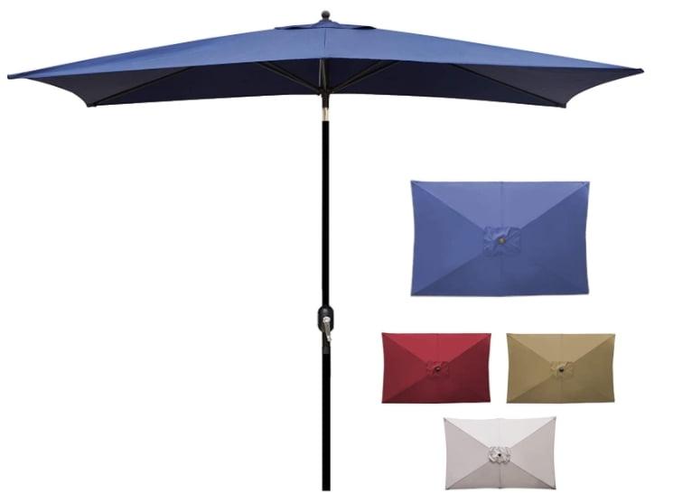 Blissun 10' Rectangular Patio Umbrella Outdoor Market Table Umbrella with Push Button Tilt and Crank