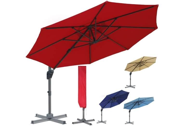 Blissun 10ft Offset Umbrella, Hanging Patio Umbrella with 360° Rotation