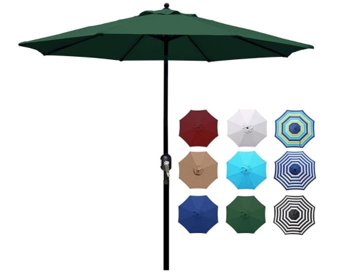 Blissun 9' Outdoor Aluminum Patio Umbrella, Striped Patio Umbrella, Market with Push Button Tilt and Crank (Dark Green)