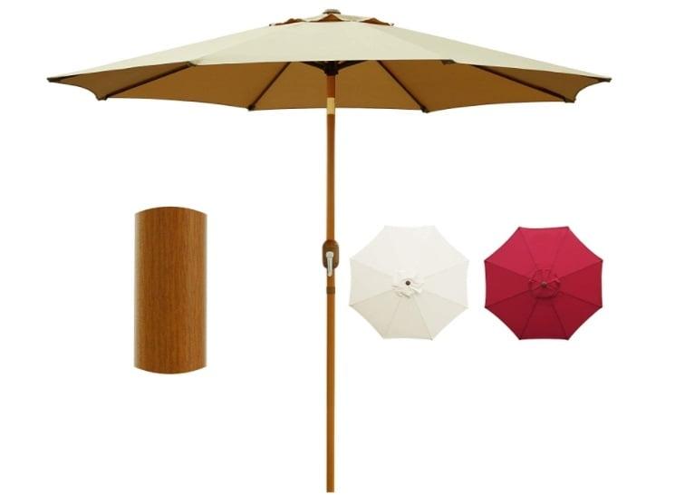 Blissun 9' Patio Umbrella Outdoor Market Table Umbrella with Push Button Tilt and Crank, Wooden Sticker Aluminum Pole