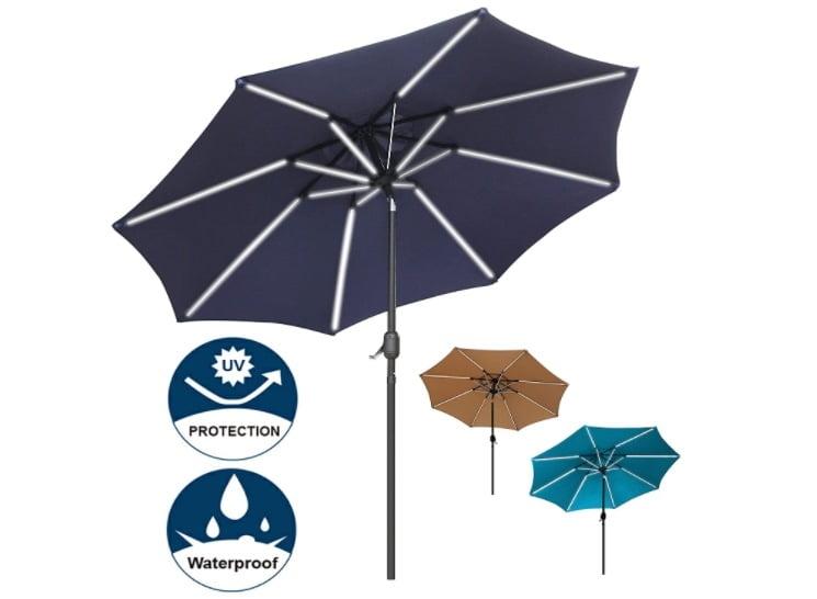 Blissun 9 ft Solar Powered LED Lighted Umbrella Patio Umbrella Table Market Umbrella with Push-Button Tilt & Crank