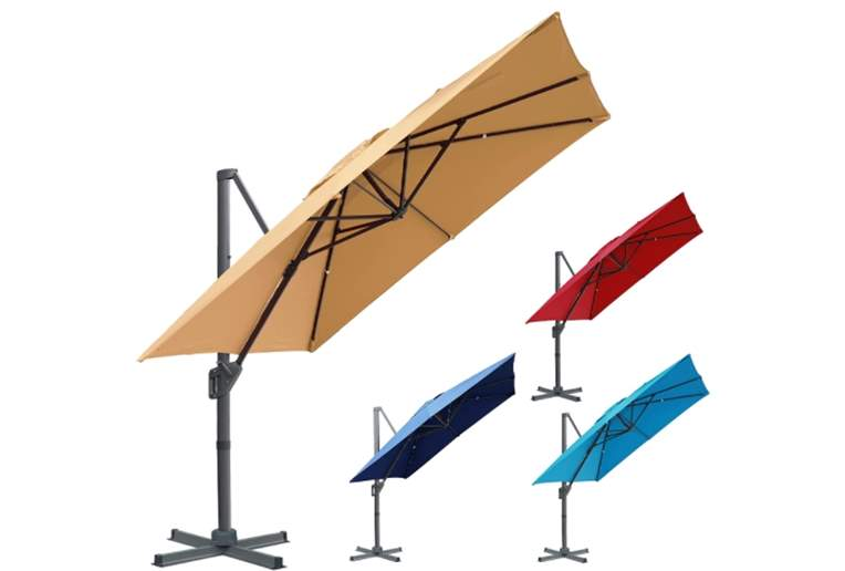 lissun 10 x 10 ft Offset Umbrella, Hanging Patio Umbrella with 360° Rotation, Outdoor Cantilever Market Umbrella
