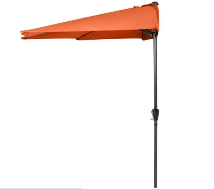 ABCCANOPY 11FT Patio Umbrella Half Round Outdoor Umbrella with Crank for Wall Balcony Door Window Sun Shade (Orange)