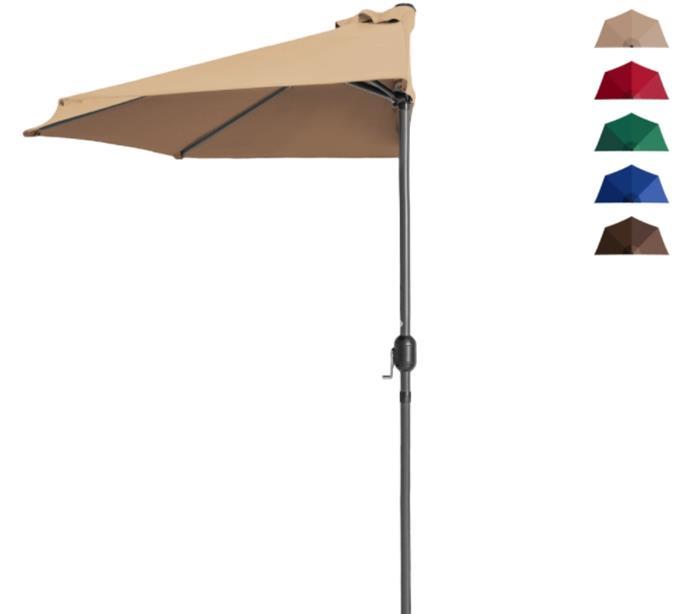 Best Choice Products 9ft Half Market Patio Umbrella w Crank Tan