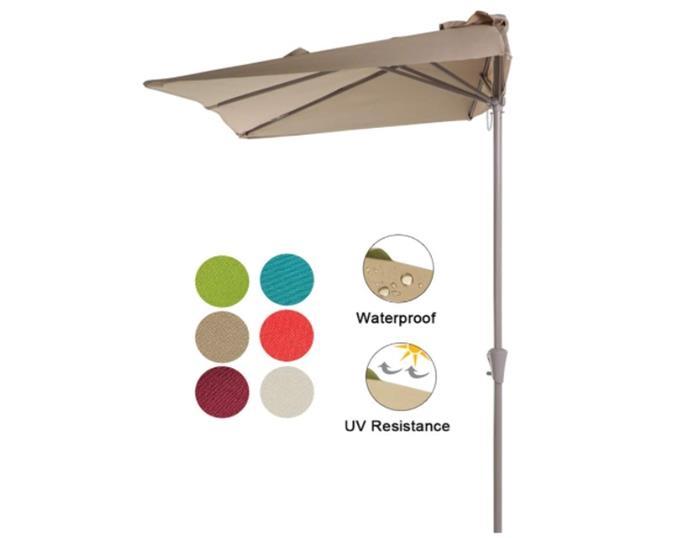 COBANA 7.5'by 4'Half Rectangular Outdoor Patio Umbrella for Patio, Balcony, Garden, Deck, Beige