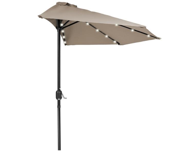 Home & Comfort 9' Patio LED Half Umbrella LED - Solar Powered (Tan)