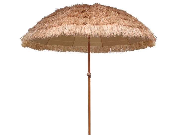 AMMSUN 7.5ft Hula Thatched Tiki Umbrella Hawaiian Style Beach Patio Umbrella 10 Ribs UPF 50+ with Tilt Natural Color