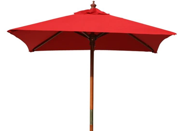 Above All Advertising Best 4 Feet Brolliz Square Wood Market Umbrella - Outdoor Garden Patio Umbrella (Red)