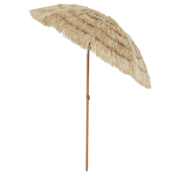 Aoxun 6.5' Thatch Patio Tiki Umbrella with Tilt - Tropical Palapa Raffia Tiki Hut Hawaiian Hula Beach Umbrella