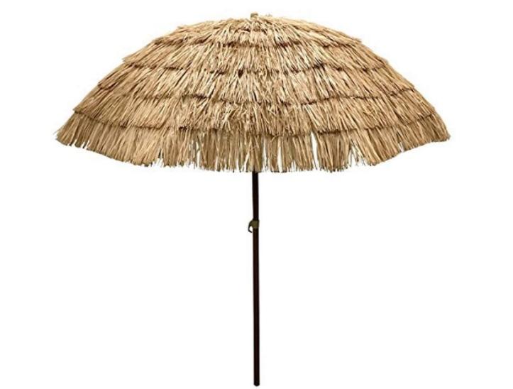 EasyGoProducts 8' Thatch Patio Tiki Umbrella – Tropical Palapa Raffia Tiki Hut Hawaiian Hula Beach Umbrella
