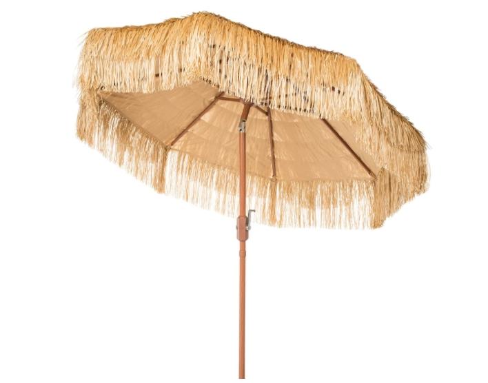 Safavieh PAT8012A Outdoor Collection Tiki Tan 9-Foot Crank Auto Tilt UV Protected Umbrella