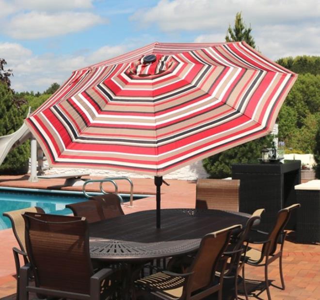 Sunnydaze 9-Foot Aluminum Solar LED Lighted Umbrella - Awning Stripe