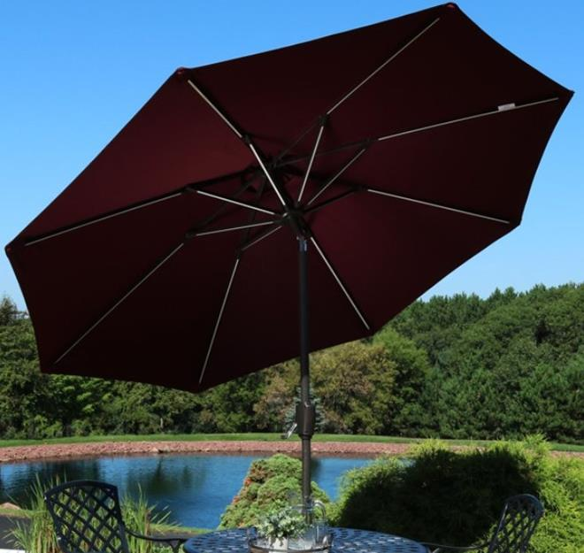 Sunnydaze 9-Foot Solar Powered LED Lighted Spun-Poly Market Umbrella with Push-Button Tilt and Crank - Burgundy