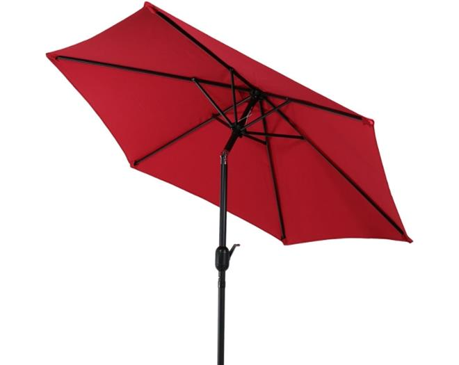 Sunnydaze Aluminum 7.5 Foot Patio Umbrella with Tilt & Crank - Red