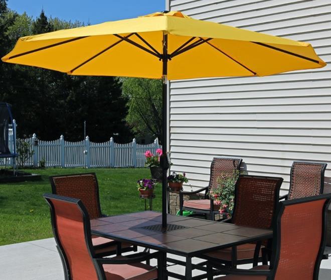 Sunnydaze Aluminum 9 Foot Patio Umbrella with Tilt & Crank Gold