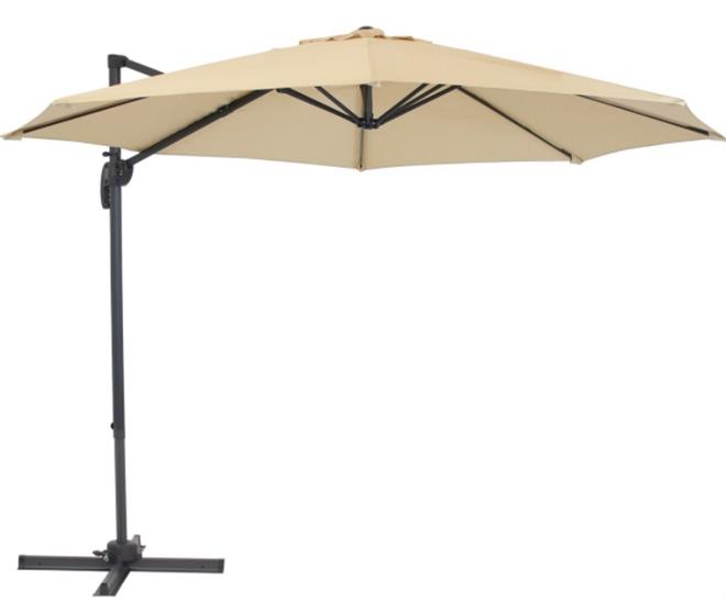 Sunnydaze Offset Outdoor Patio Umbrella with 360-Degree Rotation - 9-Foot - Beige