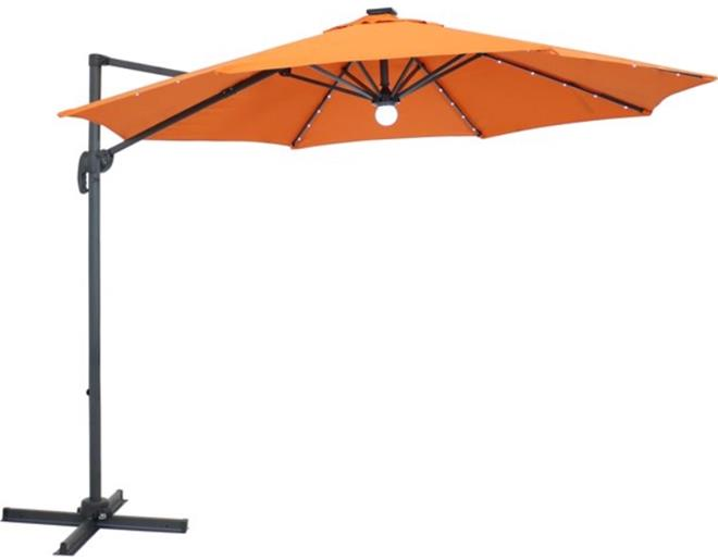 Sunnydaze Offset Outdoor Patio Umbrella with 360-Degree Rotation and Solar LED Lights – 9-Foot - Burnt Orange