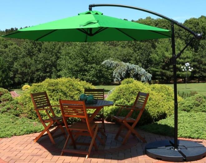Sunnydaze Offset Outdoor Patio Umbrella with Crank - 9-Foot