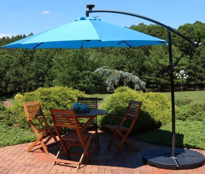 Sunnydaze Offset Patio Umbrella with Solar LED Lights - 10-Foot - Azure