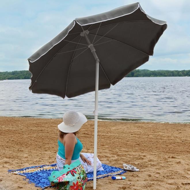 Sunnydaze Steel 5 Foot Beach Umbrella with Tilt Function