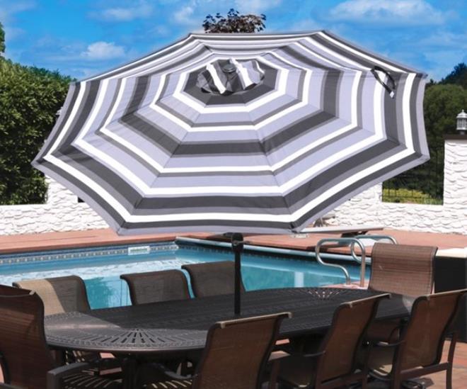 Sunnydaze Striped 9-Foot Aluminum Patio Umbrella with Push Button Tilt & Crank - Catalina Beach Stripe