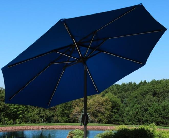 Sunnydaze Sunbrella Patio Umbrella with Solar Lights - 9 Foot Tilting Outdoor Market Umbrella