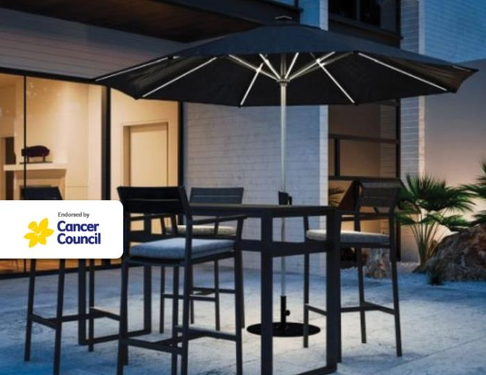 Coolaroo Bondi 3m Round Solar LED Market Umbrella