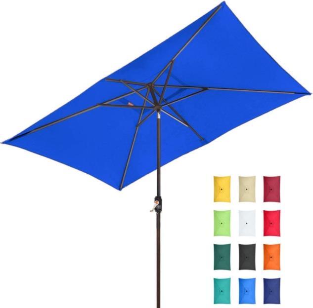 EliteShade Sunbrella 10x6.5 Ft Rectangular Market Umbrella Patio Outdoor Table Umbrella
