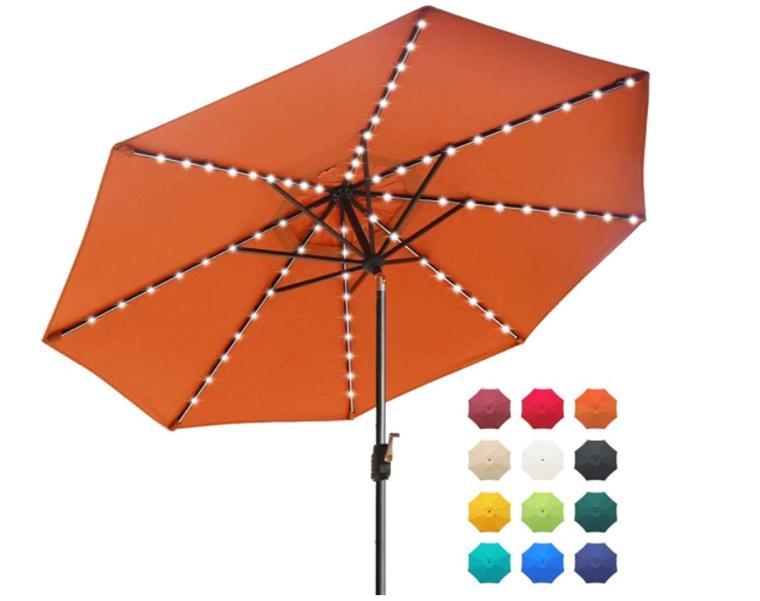 EliteShade Sunbrella Solar Umbrellas 9ft Market Umbrella with 80 LED Lights Patio Umbrellas Outdoor Table Umbrella