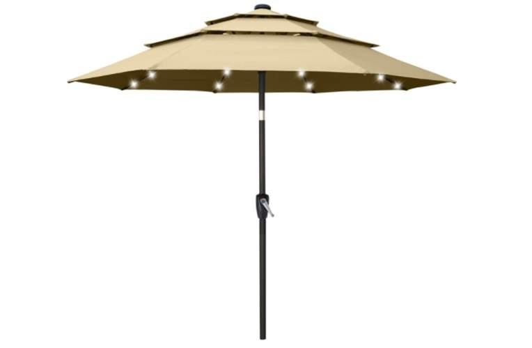 ABCCANOPY 9FT Solar 3 Tiers Market Umbrella Patio Umbrella Outdoor Table Umbrella