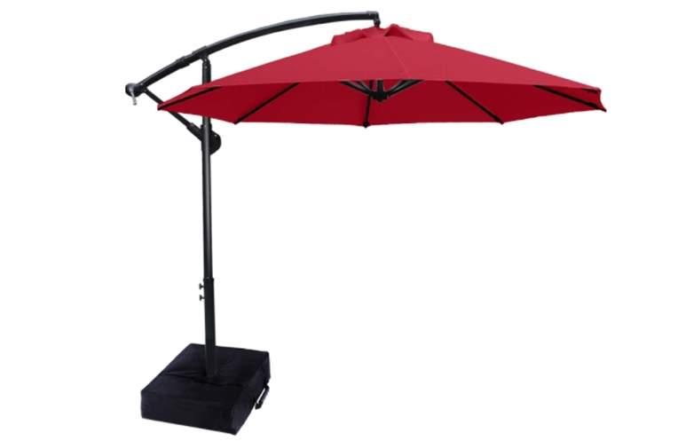 ABCCANOPY Patio Umbrellas Cantilever Umbrella Offset Hanging Umbrellas 10 FT Outdoor Market Umbrella with Crank - Vermilion