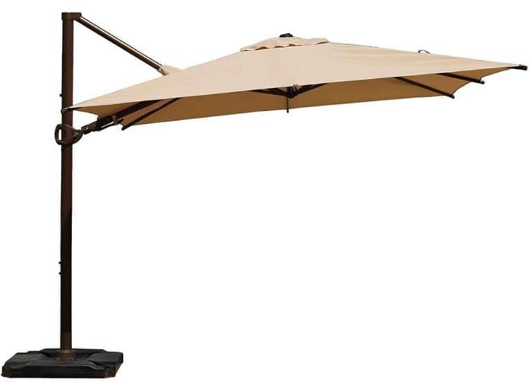 Abba Patio 10 x 10 Feet Rectangular 360° Rotation Offset Cantilever Umbrella